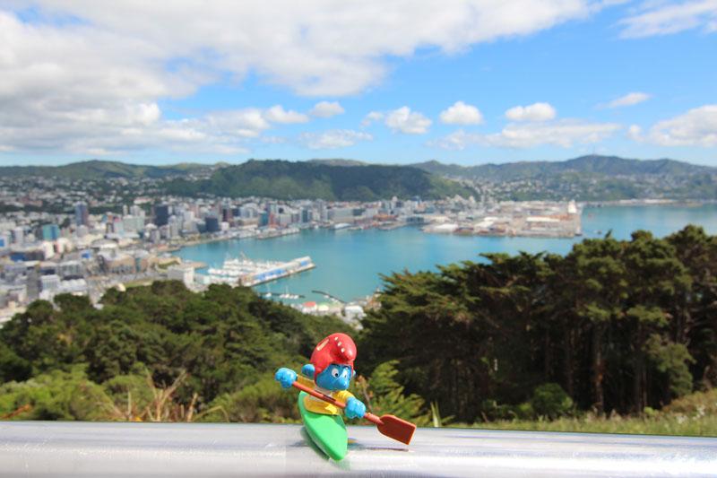 Kajaker freut sich über tolles Wetter und den Blick auf Wellington