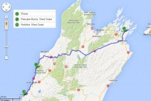 Reiseroute Südinsel Teil 1